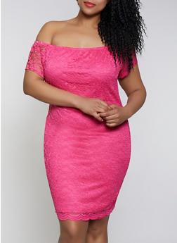 Plus Size Off the Shoulder Lace Bodycon Dress - 1390074283517