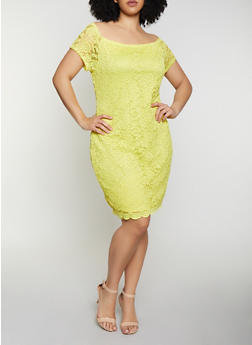 Plus Size Off the Shoulder Lace Bodycon Dress - 1390074283517