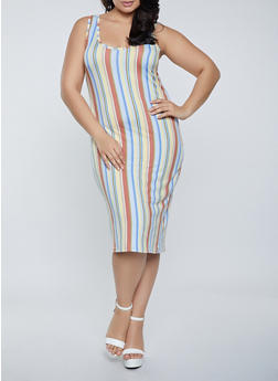 Plus Size Soft Knit Striped Tank Dress - 1390075171048