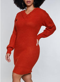 Plus Size V Neck Sweater Dress - 1390075172089
