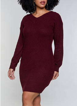 Plus Size V Neck Sweater Dress - 1390075172089