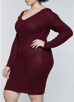 Plus Size Caged O Ring Back Sweater Dress - 1390075172090