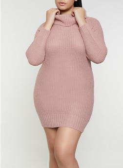 Plus Size Cowl Neck Sweater Dress - 1390075172092