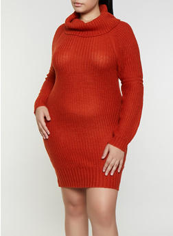 Plus Size Cowl Neck Sweater Dress - 1390075172092