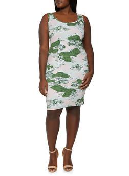 Plus Size Printed Tank Dress - 1390075173048