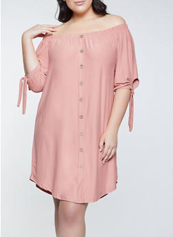 Plus Size Off the Shoulder Soft Knit Dress - 1390075173054