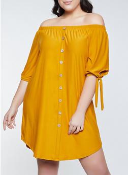 Plus Size Off the Shoulder Soft Knit Dress - 1390075173054