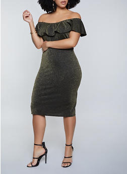 Plus Size Ruffled Off the Shoulder Lurex Dress - 1390075173100