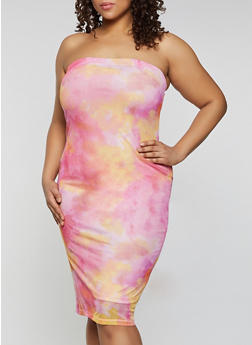 Plus Size Mesh Tie Dye Tube Dress - 1390075173174