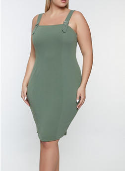 Plus Size Buckle Strap Bodycon Dress - 1390075173225
