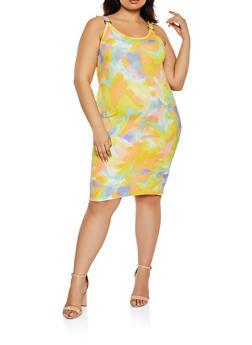 Plus Size Printed Bodycon Tank Dress - 1390075173229