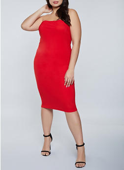 Plus Size Solid Tube Dress - 1390075173260