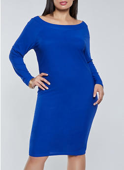 Plus Size Long Sleeve Off the Shoulder Dress - 1390075173269