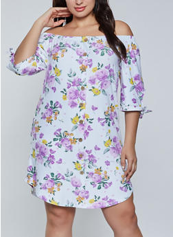 Plus Size Off the Shoulder Floral Shift Dress - 1390075173298