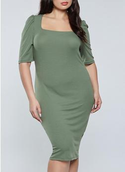 Plus Size Square Neck Ribbed Dress - 1390075173312