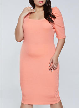 Plus Size Square Neck Ribbed Dress - 1390075173312