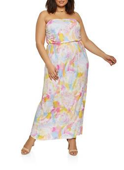 Plus Size Printed Strapless Maxi Dress - 1390075173581