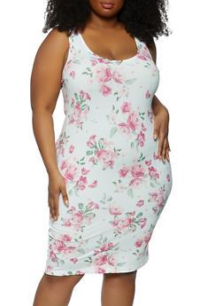 Plus Size Printed Pattern Tank Dress - 1390075174048