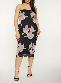 Plus Size Floral Mesh Tube Dress - 1390075174174