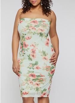 Plus Size Floral Mesh Tube Dress - 1390075174174