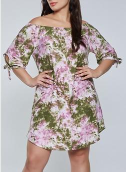 Plus Size Off the Shoulder Tie Dye Shift Dress - 1390075174298