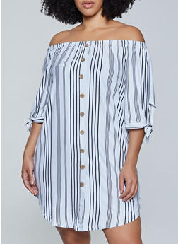 Plus Size Off the Shoulder Striped Dress - 1390075175298