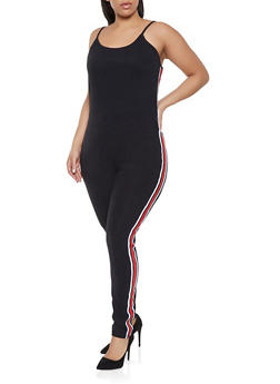 Plus Size Striped Tape Trim Catsuit - 1392034280316