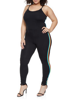 Plus Size Rainbow Striped Trim Catsuit - 1392034281316