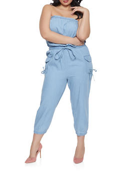 Plus Size Denim Cargo Jumpsuit - 1392038340301