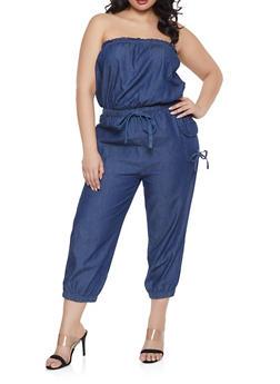 Plus Size Denim Cargo Jumpsuit - 1392038340301