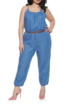 620fb81060e Plus Size Belted Denim Jumpsuit - 1392038340309