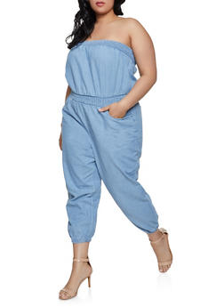 Plus Size Smocked Denim Jumpsuit - 1392038340313