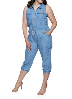 53f3ad97c94 Plus Size Denim Cargo Zip Front Jumpsuit - 1392038340314