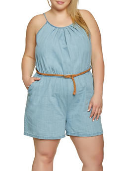 Plus Size Braided Belt Denim Romper - 1392038340341