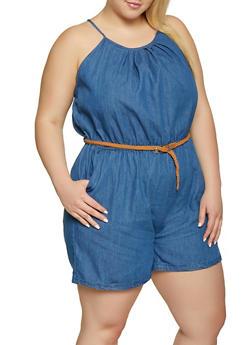 Plus Size Braided Belt Denim Romper - 1392038340341