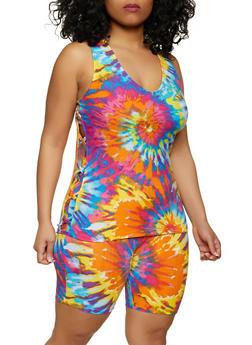 Plus Size Tie Dye Tank Top and Bike Shorts - 1392038340706