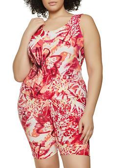 Plus Size Tie Dye Soft Knit Tank Top and Bike Shorts - 1392038340708