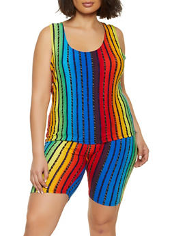 Plus Size Rainbow Striped Tank Top and Bike Shorts - 1392038340709