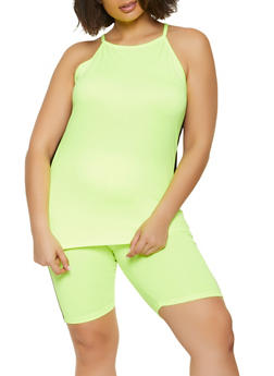 Plus Size Side Striped Cami and Bike Shorts - 1392038340711