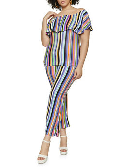 Plus Size Striped Off the Shoulder Top with Flared Pants - 1392038340713