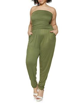 Plus Size Ruched Strapless Jumpsuit - 1392038340798