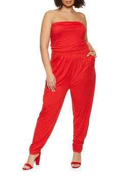 Plus Size Ruched Strapless Jumpsuit - 1392038340798