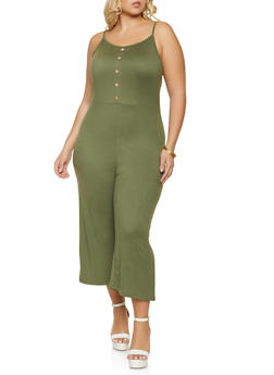 Plus Size Cropped Cami Jumpsuit - 1392038340817