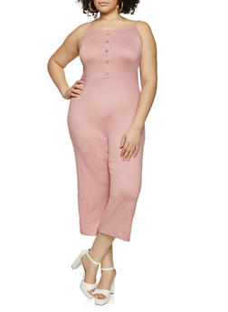 Plus Size Cropped Cami Jumpsuit - 1392038340817