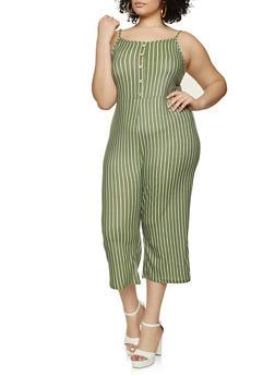 Plus Size Striped Soft Knit Jumpsuit - 1392038340818