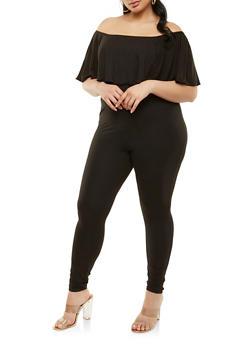 Plus Size Soft Knit Off the Shoulder Jumpsuit - 1392038348822