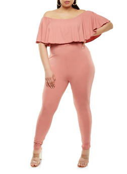 Plus Size Soft Knit Off the Shoulder Jumpsuit - 1392038348822
