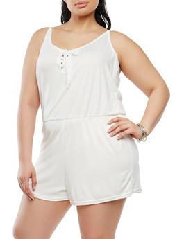 Plus Size Lace Up Romper - 1392038348824