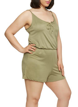 Plus Size Lace Up Romper - 1392038348824