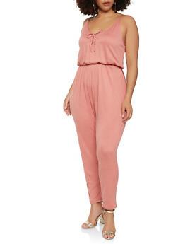 Plus Size Soft Knit Lace Up Jumpsuit - 1392038348825